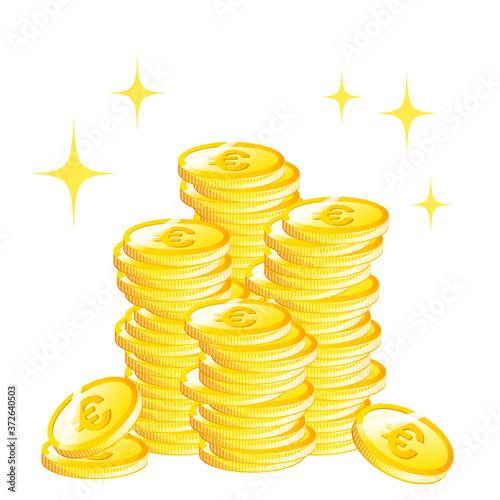 大量のユーロコインのイメージ(背景透過3) Fototapete
