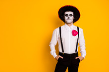 Portrait Of His He Nice Handsome Imposing Gentleman Mc Artist Cowboy Wear Festal Clothes Shirt Suspenders Copy Space Corporate Carnival Isolated Bright Vivid Shine Vibrant Yellow Color Background