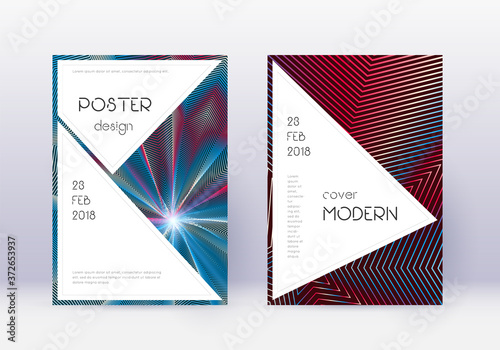 Stylish cover design template set. Red abstract li Fototapet
