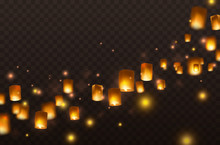 Lanterns Isolated On Transparent Background. Diwali Festival Floating Lamps. Vector Indian Paper Flying Lights With Flame At Night Sky