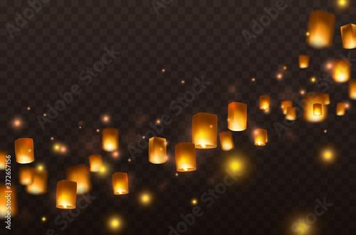 Canvastavla Lanterns isolated on transparent background