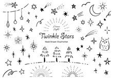 おしゃれな星の手描き...