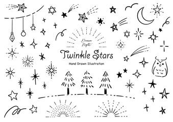 おしゃれな星の手描きイラストセット ペン画