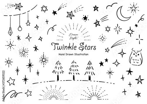 Obraz おしゃれな星の手描きイラストセット ペン画 - fototapety do salonu