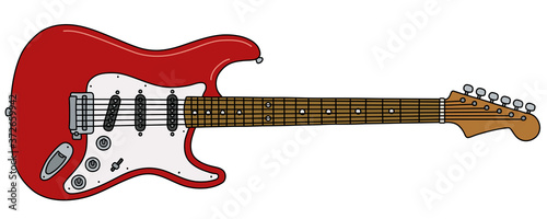 Obraz na płótnie The vectorized hand drawing of a classic red electric guitar