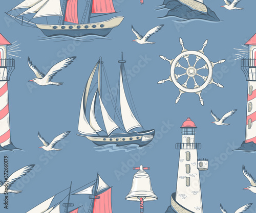 Fotografia Seamless pattern with sailing yachts and nautical equipment