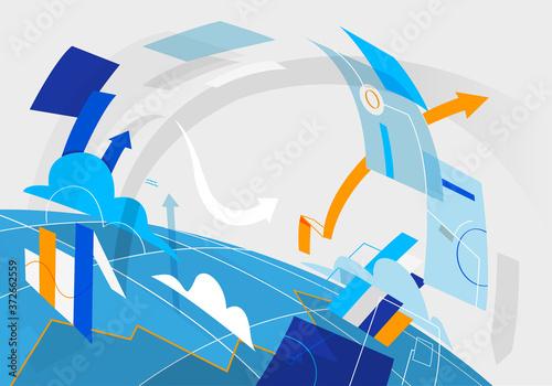 Flusso di dati e asset digitali intorno al pianeta Fototapet