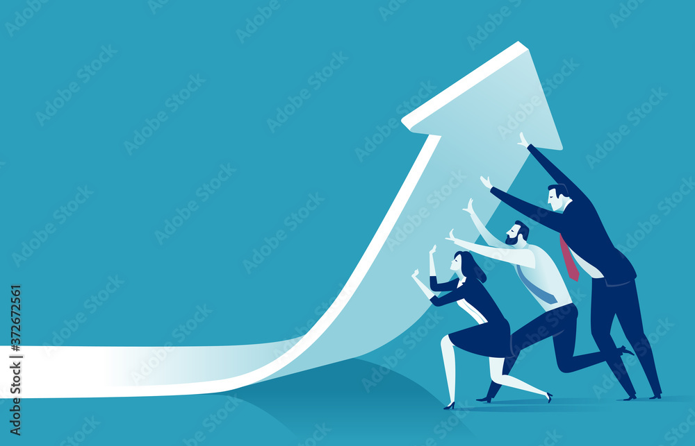Fototapeta Change of a direction. Lifting economic results. Business vector illustration.