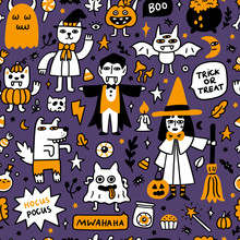 Halloween Pattern With Spooky Characters And Holiday Attributes. It Can Be Used For Packaging, Wrapping Paper, Textile, Home Decor Etc. Graphic Vector Illustration.