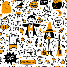 Seamless Pattern With Spooky C...