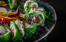 Sushi Rolls With Seafood And C...