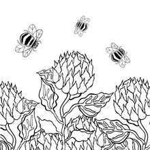 Vector Illustration Of Bees Are Flying To Flowers. Summer Mood. Black And White Illustration. Coloring Book, Postcard, Card.
