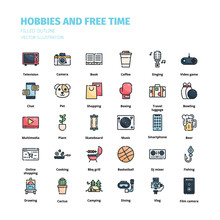 Hobbies And Free Time Icons. H...