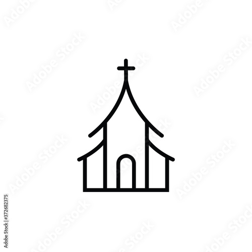 Fotografie, Obraz Christian church thin icon isolated on white background, simple line icon for your work