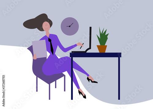 Fototapeta Illustrazione digitale di una donna che lavora da casa