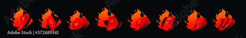 Foto set of burning fire cartoon icon design template with various models