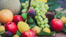 Variety Of Fruit On Wooden Tab...