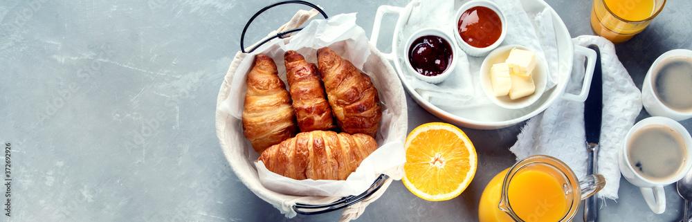 Fototapeta Healthy breakfast with freshly baked croissants