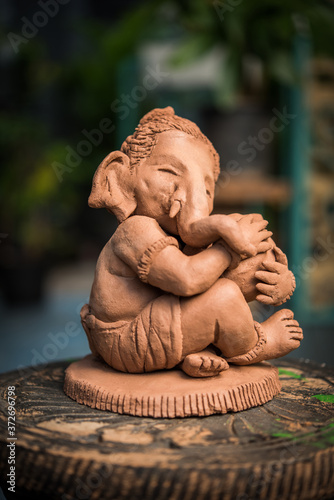 Homemade lord Ganesha idol or Ganapati Bappa murti using dissolvable clay Canvas Print