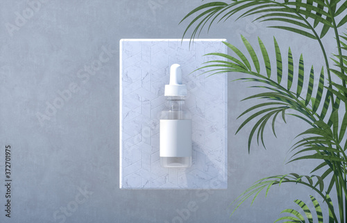 Fototapeta Natural cosmetic blank serum bottle container with tropical palm leaves background. 3d render. obraz na płótnie