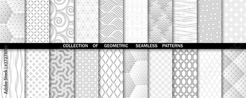 Fotografie, Obraz Geometric set of seamless gray and white patterns
