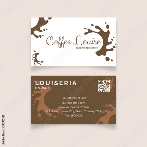 Fototapety, obrazy: Minimalist abstract Cafetaria with brown color business card template