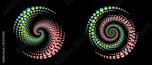 Leinwand Poster belarusian and ukrainian national flags in circles as halftone effect