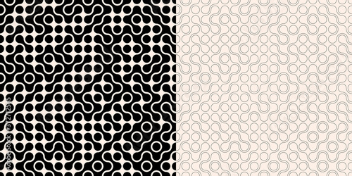 Stampa su Tela Two abstract seamless backgrounds with randon connected dots