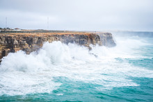 Big Waves Over The Cliff On De...