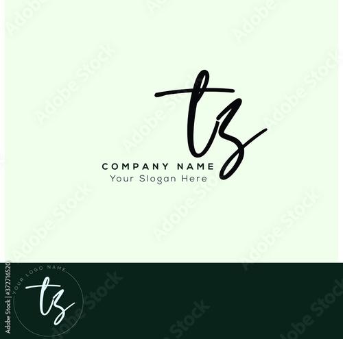 Fototapeta T Z TZ T S TS  Initial letter handwriting and signature logo