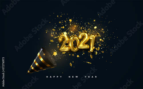 Obraz Golden 2021 numbers, party popper cone and glittering confetti isolated on black. Vector festive illustration. Holiday decoration with sparkling tinsel particles. Happy New Year - fototapety do salonu