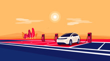 Modern Electric Car Standing Charging On Empty Charger Station At Highway Road Rest Area. Battery Vehicle Standing On Dedicated Parking Lot. Vector Illustration In Cartoon Style. Long Distance Travel.