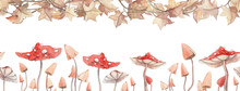 Long Seamless Banner With Watercolor Hand Painted Wilted Leaves And Mushrooms