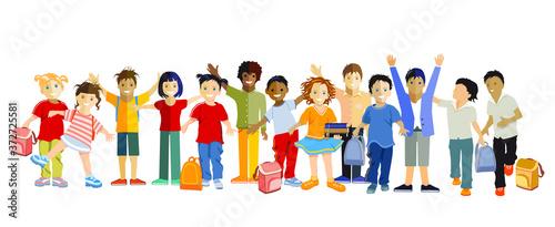 Schulkinder vergnügt beisammen, Vector Illustration Fototapete