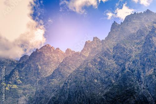 Fototapeta The beautiful walls of the Javorowy Peak (Javorovy stit). High northern walls of the peaks (Javorovy stit - Jaworowy Szczyt, Maly Javorovy stit - Maly Jaworowy Szczyt, Ostry Szczyt). Area of climbing. obraz
