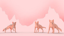 Animal Fox Low Poly Red Geomet...