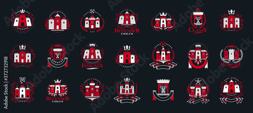 Fototapeta Vintage castles vector logos or emblems, heraldic design elements big set, classic style heraldry architecture symbols, antique forts and fortresses