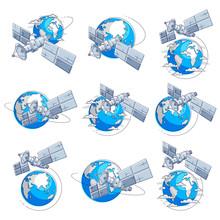 Satellites Flying Orbital Flig...