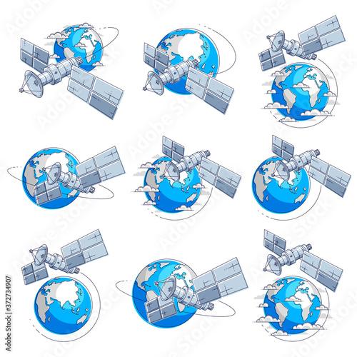 Valokuvatapetti Satellites flying orbital flight around earth, communication technology spacecraft space station with solar panels and satellite antenna plate