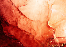 Red Ink Water. Marble Texture. Hot Volcanic Lava Abstract Design With Streak Pattern. Bright Glitter Fluid With Orange Golden Fleck Grain. Creative Stained Surface Art Background. Mars Planet.
