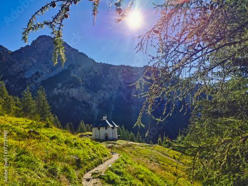 Notre Dame des Vernettes chapel. Alpine shrine built at 1816 m altitude in the french Alps.