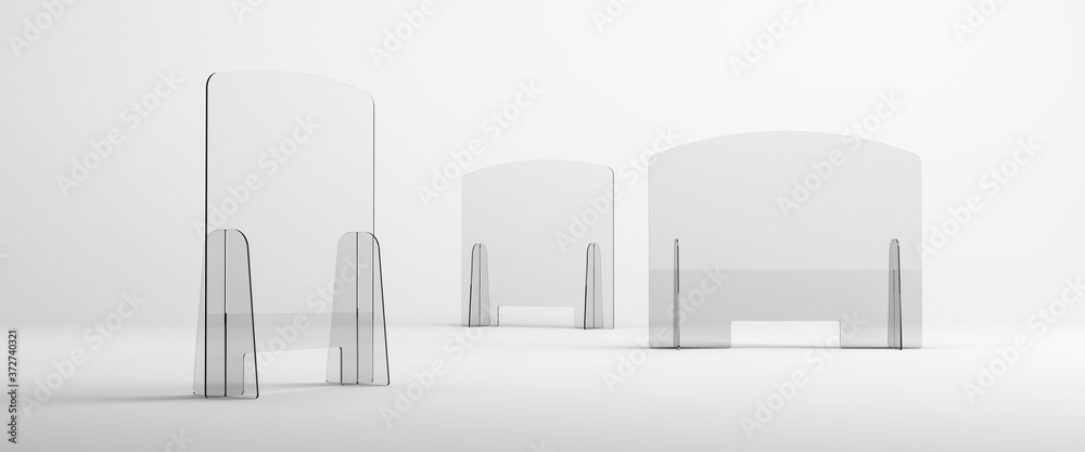 Fototapeta Sneeze guards, social distancing barriers and shields. Transparent Acrylic Display.
