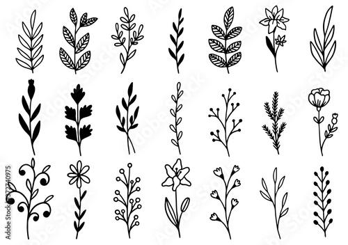 Papel de parede 0192 hand drawn flowers doodle