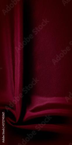 Obraz na plátně texture, red silk fabric panoramic photo