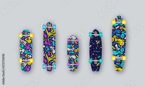 Fotografie, Obraz Set of prints on longboard in hand-drawn style