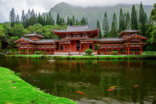Peaceful Byodo-In Buddist Temple On Oahu In Hawaii In Valley Of The Temples Memorial Park