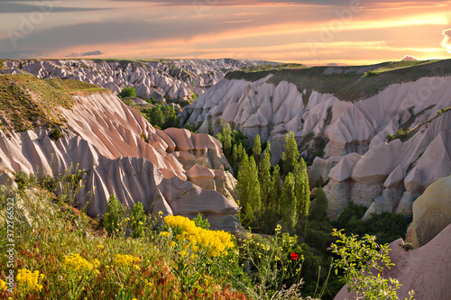 Volcanic rock formations in Cappadocia, Turkey