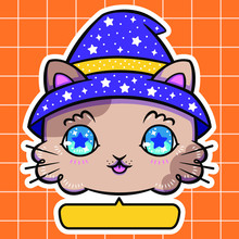 Vector Die Cut Sticker Illustration Of Halloween Beige Brown Cat With Blue Eyes Tongue Out And Witch Wizard Starry Purple Hat, Dialogue Box Bubble Balloon Aesthetic Orange Squared Quadrille Background