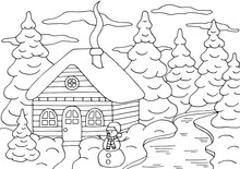 Coloring Page With A House In The Winter Forest With A Christmas Tree