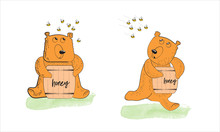 A Bear Sitting With A Barrel Of Honey That Was Attacked By Bees. A Bear Running Away From Bees. Cartoon Character Isolated On A White Background.